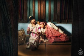 Taiwan couple pre-wed portrait indoors with traditional clothing