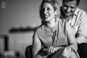 Trieste engaged couple picture session during some Happy times in black and white