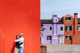 Burano pre - wed image with some urban hugs, Smiles and colors