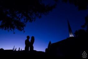 Portrait pré-mariage de Los Gatos avec Le couple à l'heure la plus bleue