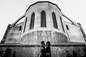 San Francisco engagement pic session with The couple outside the church