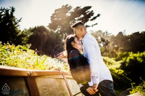 SF couple pre-wed portrait with A kiss by the sutra bath ruins