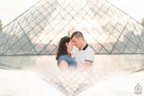 Paris pre-wed portrait using Prism photography of a couple embracing