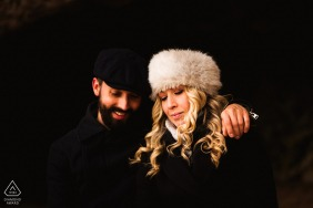 Dorset engaged couple picture session with a minimal black background