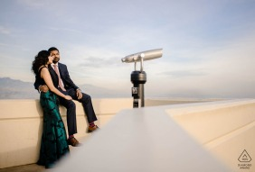 Griffith Observatory Pre Wedding Photoshoot in a Fine Art Style in Los Angeles overlooking the city in formal attire