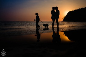 Phuket Fine Art Engagement Image session at the beach during sunset with a silhouette