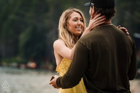 Donner Lake, California Fine Art Engagement Session with the bride to be looking at her new fiance's face with so much love