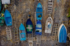 Acicastello Artful Engagement Picture from a drone for a couple who know how to relax and love