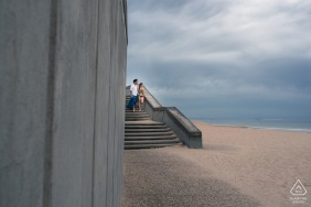 Capbreton France Pre Wedding Photoshoot in a Fine Art Style during an Engagement session on the beach