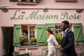 Paris Montmartre Fine Art Pre Wedding Portraits while walking through town past La Maison Rose
