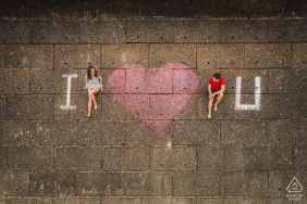 Etables sur Mer, France Artful Engagement Picture from a drone overhead with I love you ground sign