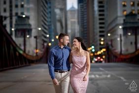 La Salle Bridge, Chicago Illinois Pre Wedding Fine Art Style Photoshoot with a couple walking in the street