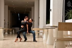 Resort Princess Riviera Maya Playa del Carmen on-location portrait e-shoot of the couple sitting in the lobby