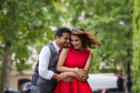 London portrait e-session of couple holding one another