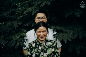 Canterbury Road, Singapore on-location portrait e-shoot - We took a greener approach to this pre-wedding shoot, opting to dive deeper into the foilage for a posed snapshot within the greens