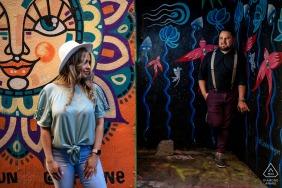 Place du marché, Knoxville portrait e-session - le couple debout devant un mur peint dans l'allée d'art de rue à Market Square
