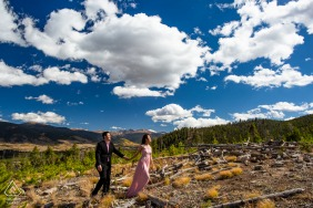 Sapphire Point, Frisco environmental engagement e-session - a couple walking up a mountain