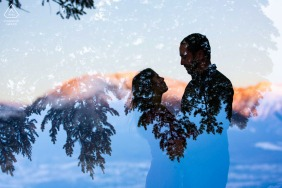 Sapphire Point, Frisco on-location portrait e-shoot - double exposure silhouette of a couple and the sunrise