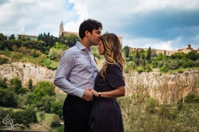 La Badia, Orvieto on-location portrait e-shoot -a portrait of the couple with the city of Orvieto in the background
