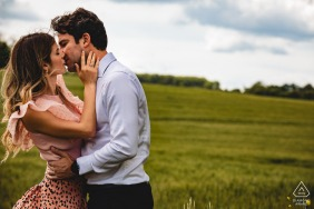 Orvieto environmental engagement e-session of a couple in a wheat field