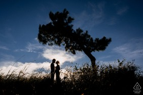 Dalat environmental engagement e-session silhouetted couple in a field with a single tree