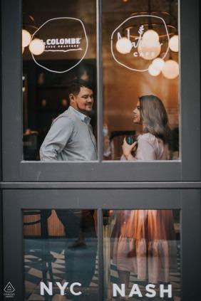 Downtown Nashville portrait e-session at a dining establishment