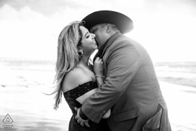 Port Aransas Beach portrait e-session during the Sunrise in TX with his cowboy hat