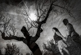 Almeria, Spain environmental engagement e-session with creative Double Exposure under the trees, sun and clouds