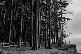 Moss Beach, California portrait e-session with some BW Love amongst woods
