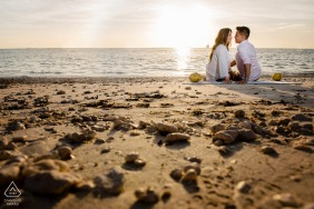 Fort Zach State Park environmental engagement e-session with a Key West Ocean view on the beach sand