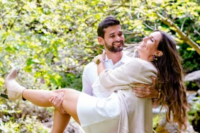 Cazorla, Jaén on-location portrait e-shoot with a playful couple in the trees