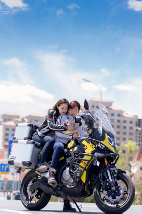 Xining City on-location portrait e-shoot on a motorcycle high above the city