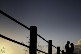 e-shoot de portrait sur place de Maceió avec le couple au coucher du soleil