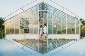Maceió, Brazil on-location portrait e-shoot with some greenhouse glass love and symmetry