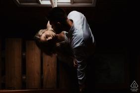 Aracruz, Espírito Santo, Brazil environmental engagement e-session with a dip an a tender kiss on her neck