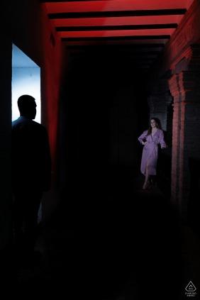 Palacio de los Cordova, Granada, Spain portrait e-session with a silhouette and a spot light