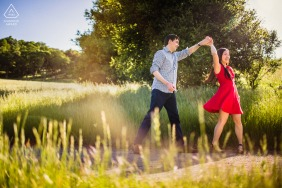 Cupertino environmental engagement e-session with a Couple dancing in the Spring air