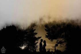 True Love Pre-Wedding Portrait Session in Zurich City illustrating a couple and their amazing Sunset Silhouette