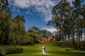 True Love Pre-Wedding Portrait Session at the Hacienda Montemar in Carrizal Alajuela, Costa Rica illustrating a couple at a background with all its beautiful scenery