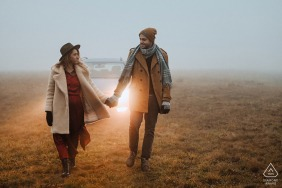 True Love Engagement Picture Session at the Vila Ekaterina in Bulgaria showing a couple with fog and car lights