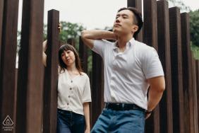 Labrador Park, Singapore couple e-session posing for a prewed portrait