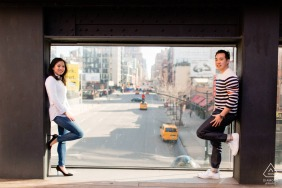 The High Line Park couple e-session overlooking New York City