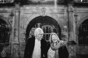 Cambridge, UK couple e-session laughing together
