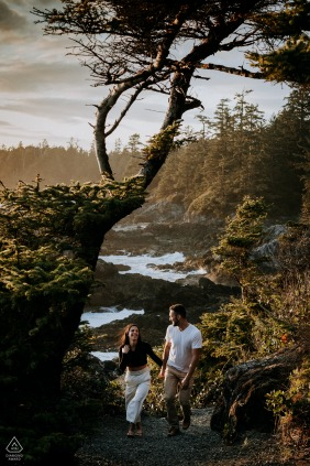BC couple e-session at Tofino, Vancouver Island hiking amongst the trees