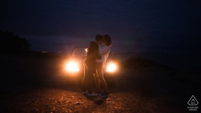 Le Pouldu couple e-session for a night portrait