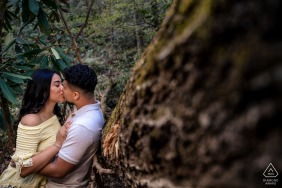 Tennessee couple e-session in Pigeon Forge enjoying an intimate kiss along the mountain trail