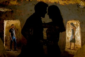 Aguilas Murcia couple e-session with double exposure lovers In Shadows