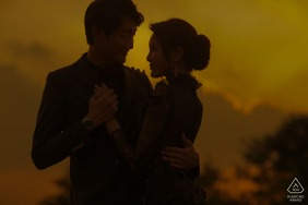 Shenzhen, China couple e-shoot at Sunset in warm tones with a silhouette