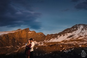 Georgetown, CO couple e-session at Guanella Pass while embracing in the mountain sun light