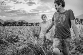 Schio Countryside couple e-shoot candids in black and white from Vicenza, Italy